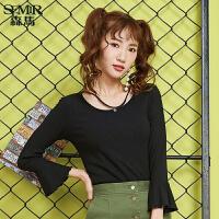 森马针织衫女秋季新款修身显瘦打底衫韩版学生白色甜美喇叭袖
