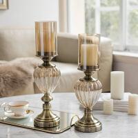 现代简约家居客厅样品间玄关装饰品摆件金属玻璃烛台摆件