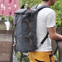 男士旅游后背包休闲被包大容量水桶包装衣服的帆布旅行李双肩包包 灰色 加厚帆布-*品