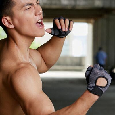 健身手套男半指器械训练哑铃户外骑行防滑耐磨薄单车男士运动手套