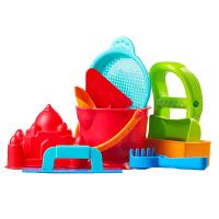Hape新升级沙滩9件套1-6岁沙滩玩具经典套装玩沙挖沙工具运动户外玩具 E8404 送沙滩收纳袋