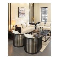 现代简约新中式实木沙发组合小户型客厅布艺禅意沙发酒店家具定制 其他