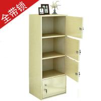 【满减优惠】简易柜子储物柜书柜带门带锁小柜子自由组合儿童柜员工柜阳台木柜