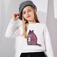 【2件3折到手价:69】小猪班纳女童毛衣中大童毛线衣儿童圆领针织衫