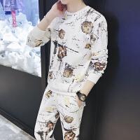 卫衣男圆领帅气两件套休闲套装男生18春季新款套头时尚印花运动服