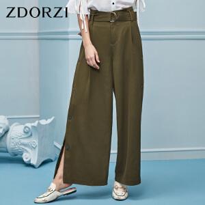 卓多姿2018夏装新款纯色气质腰带设计纽扣式裤边阔腿裤女736E285