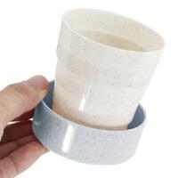 户外创意伸缩折叠杯小麦秸秆有盖水杯旅游便携用品