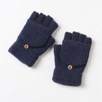 保暖 学生 韩版毛线半指手套 男士冬季漏半截露指手套男冬