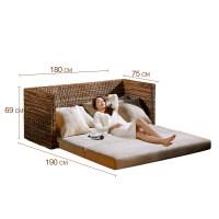 懒人沙发床可折叠双人阳台懒人榻榻米小户型藤编布艺沙发床藤沙发