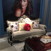 欧式真皮沙发 新美式简欧实木轻奢酒红色123组合沙发会所酒店家具 组合