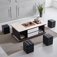 大理石功夫茶几简约现代带凳子办公室茶台茶桌电磁炉茶具套装一体 整装