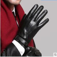 触屏男士手套皮手套男加绒加厚保暖防风防水骑摩托车骑行手套