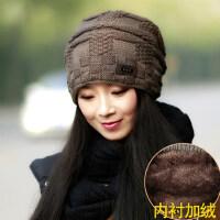 毛线帽女加绒加厚时尚韩版潮百搭韩国保暖女士针织帽