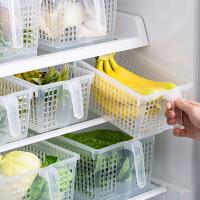 居家家 冰箱收纳盒厨房橱柜储物箱 桌面长方形储物盒塑料镂空盒子