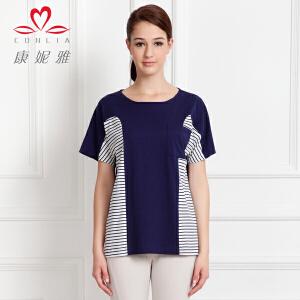 康妮雅夏季新款女装 女士棉质色织细横条纹短袖T恤