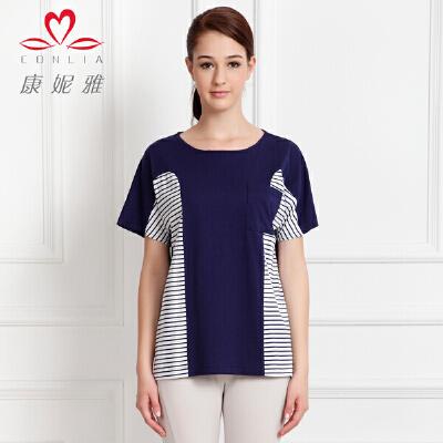 康妮雅夏季新款女装 女士棉质色织细横条纹短袖T恤先领卷后购物 满399减50