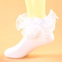儿童花边袜春秋款 女童蕾丝公主袜 宝宝白色袜子夏季薄款