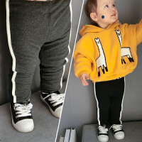 4号冬季宝宝双层加绒保暖打底裤不规则裤小童新潮条纹裤1-5岁