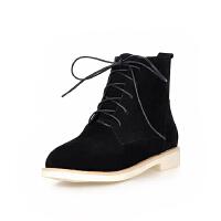 ELEISE美国艾蕾莎新品秋冬176-F904韩版磨砂绒面平底女士短靴