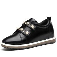 女鞋夏2017新款港风街拍内增高单鞋低跟平底鞋休闲珍珠女士皮鞋潮