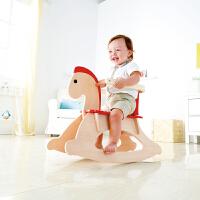 Hape摇摇木马10个月以上儿童实木玩具婴幼玩具摇马摇椅有靠背E0100