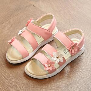 乌龟先森 儿童凉鞋 女童凉鞋中大童休闲韩版夏季新款平底魔术贴小学生防滑耐磨沙滩鞋子