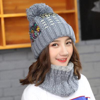 帽子女韩版潮时尚休闲百搭可爱学生狐狸毛保暖针织毛线帽