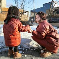 女童冬装母女轻薄bf中长款羽绒服儿童宝宝白鸭绒亲子羽绒服