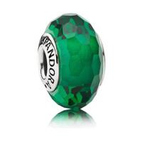 PANDORA潘多拉 深绿色切割面琉璃925银琉璃串饰791619