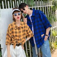 情侣装夏季港风短袖格子衬衫韩版宽松男女五分中袖衬衣休闲外套潮