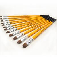 水粉笔狼毫绘画笔套装6支圆锋水彩笔丙烯油画笔单支学生用画画笔