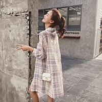 格子衬衫女2018夏装新款中长款ins超火的bf长袖宽松薄防晒衣外套