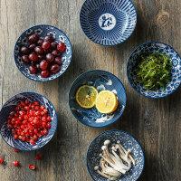 奇居良品 日式和风厨房餐具 青花纹陶瓷5.25寸浅口螺纹餐碗米饭碗