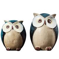 创意摆件可爱猫头鹰装饰房间的小饰品美式家居客厅玄关酒柜装饰品