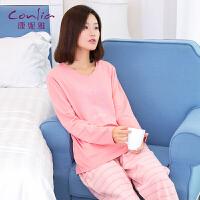 康妮雅睡衣女士秋季长袖套装简约休闲家居服套装可外穿