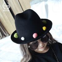 高端定制 韩国原版 秋冬新款女童礼帽 毛呢羊毛球宽檐渔夫帽