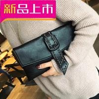 女包手拿包2018韩版新款女包包潮铆钉信封包大容量链条斜挎包手包 黑色