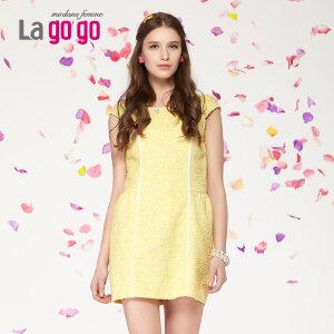 Lagogo/拉谷谷新款拼色修饰镶花圆领连衣裙