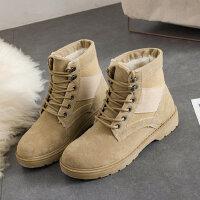 雪地靴女短靴马丁靴学生平底女靴子女鞋棉鞋加绒短筒