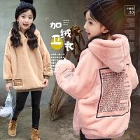 女童加厚卫衣2017秋冬装新款韩版中大童加绒套头外套宝宝保暖上衣