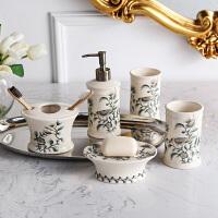 奇居良品 欧式客厅家居装饰摆件 绿鸟春意裂纹贴花陶瓷卫浴五件套