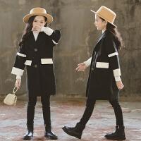 女童韩版拼色呢子中长款风衣秋冬装韩版女孩时髦外套