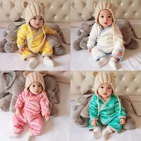 婴儿冬装新生儿外出抱衣服秋冬季男女宝宝加厚保暖哈衣套装连体衣