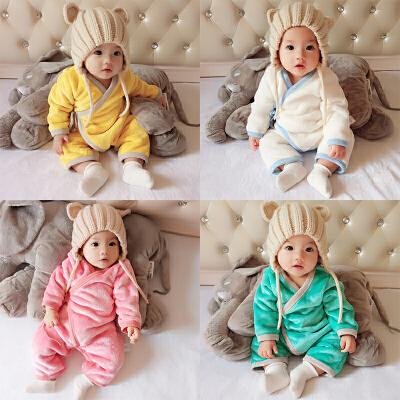 婴儿冬装新生儿外出抱衣服秋冬季男女宝宝加厚保暖哈衣套装连体衣 发货周期:一般在付款后2-90天左右发货,具体发货时间请以与客服协商的时间为准