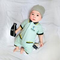 婴儿连体衣服宝宝新生儿季01岁7个月春款短袖哈衣平角爬服