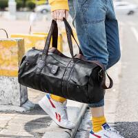 旅行包男士商务手提短途旅游行李包韩版出差登机包单肩健身包 黑色 大