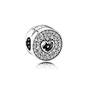 PANDORA潘多拉 镂空的心周年纪念925银串饰791977CZ