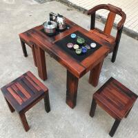 老船木功夫泡茶台仿古中式全实木家具小型阳台茶几简约茶桌椅组合 2. 整装