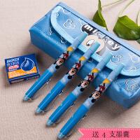 Disney/迪士尼DM0495 蓝色小墨囊钢笔套装/长杆 蓝色笔杆小学生用可擦钢笔可换墨囊正姿练字蓝墨水学习文具