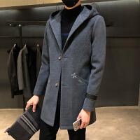 风衣男中长款秋冬新款韩版休闲外套青年潮流帅气呢大衣男士披风潮